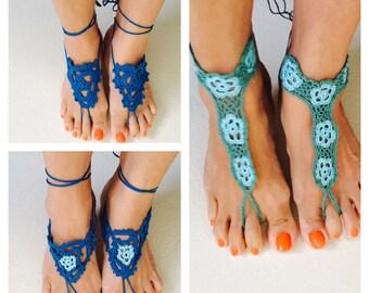 Bare Foot Sandals, Floral Wedding, Crochet Shoes, Romantic, 100% Cotton,  choose a color , item no. De304