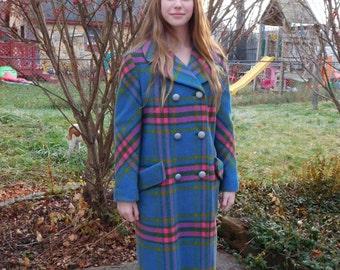 Vintage Pastel Plaid Wool Coat Size Small