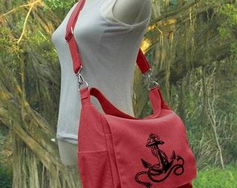 Holiday On Sale 10% off Screen print messenger bag, red canvas shoulder bag, diaper pag, school bag for students