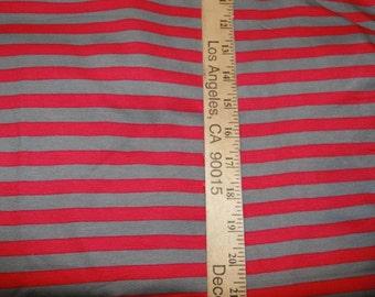 Dark Grey and Hot Pink Cotton Lycra Stripe Knit FABric