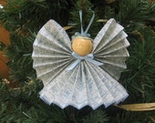 Angel Tree Ornament, Blue Spatter Angel, Blue Christmas Ornament, Blue Paper Ribbon Angel, Tree Ornament, Angel Decor, Angels SnowNoseCrafts