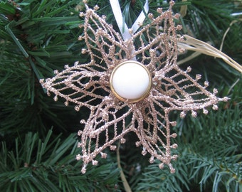 Gold Lace Snowflake / Gold Christmas Tree Ornament / Gold & White Snowflake / Tree Decoration / Gold Christmas Decor / Gift Embellishment