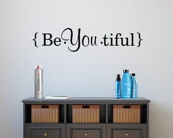 Beautiful Wall Decal BeYouTiful Wall Decal Vinyl Lettering Vinyl Wall Decal  Vinyl Wall Art Girls Room