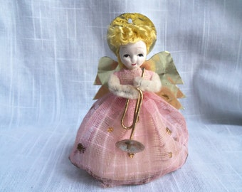 Vintage Pink Christmas Angel Ornament Chenille Foil Tulle Fabric Glitter Painted