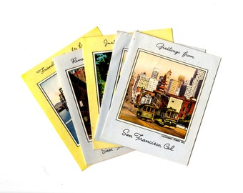 5 Unused Vintage San Francisco California Note Cards, Vintage Travel Greeting Cards, Collage, Scrapbooking, Travel Journal Supplies