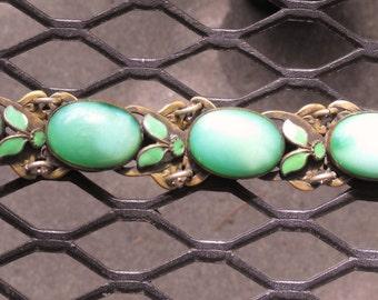 Max Neiger? peking glass bracelet  Czech peking glass green moonstone bracelet Enamel and moonstone glass bracelet  Neiger Bros.