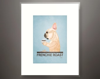 French Bull Dog Coffee Matted 5x7 Art Print - Fits 8x10 Frame