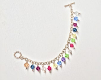Vintage 925 Sterling Silver and Crystal Charm Bracelet