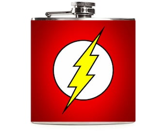 The Flash Flask, Superhero Wedding, Justice League, Personalized Mens Groomsmen Gift 6oz Hip Flask
