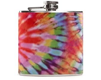 Tie Dye Flask, Wedding Gift Flask, Stainless Steel 6oz Hip Flask