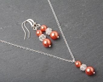 Coral Bridesmaid jewelry set, pearl earrings and necklace set, coral wedding Jewelry, coral bridesmaid gift, rhinestone jewelry set