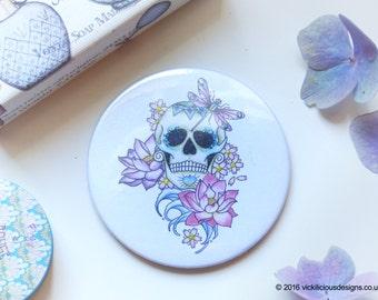 Lotus flower sugar skull tattoo day of the dead handmade pocket vanity mirror