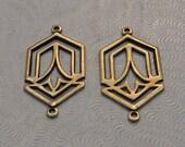 LuxeOrnaments Oxidized Brass Filigree 2 Ring Pendant (2 pcs) 24x16mm G-07285-B
