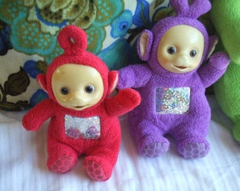 Vintage Tinky Winky and Po. Teletubbies. Baby Toys. Used but Washed. Terrycloth Dolls with Plastic Faces.