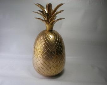 "Vintage Large 12"" Brass Pineapple Box Ice Bucket Brass Accent"