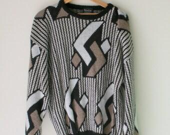 1980s HIPSTER Oversized Geometric Sweater...one size. free size. urban. aztec. retro. unisex. striped. 1980s sweater. rad. fun. 1980s 1990s