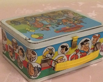 Rare Retro 70s The Funtastic World Of Hanna Barbera Kids Lunch Box Retro Painted Tin Lunch Box. Thermos Division King Seeley Therm