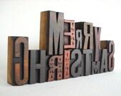 MERRY CHRISTMAS - 14 Vintage Letterpress Wood Type Alphabets Collection - LP35