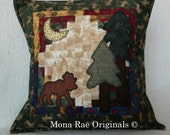 Moose Pillow ~ 18 Inch OOAK Pillow ~ Hand Appliqued and Quilted ~ Over 1000 Hand Quilted Stitches