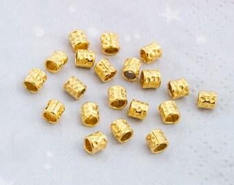 20 of karen hill tribe  24k Vermeil Style Facet Hammer Tubular Beads 4 mm.  :vm0229