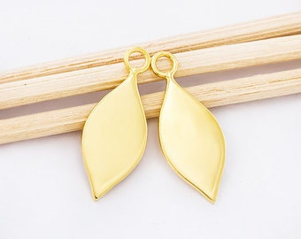 2 of 925 Sterling Silver 24K Gold  Vermeil Style Drop Charms 8x16 mm. , Polish Finished  :vm0786