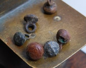 Set of 6 Antique miniature metal charms, buttons, dark patina (n10)