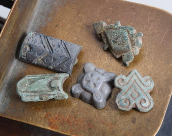 Set of 5 Antique metal plates, pendants, charms, connector, finding, dark patina