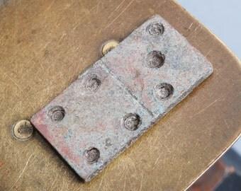 Antique metal domino, Number 4 and 3, original dark patina