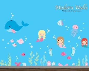 Wall Decals-Nursery Decal-Mermaid decal-Under water ocean decal-fish-whale-sea horse-Sea-Ocean-Girl