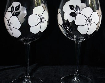 Black and White Hand Painted Wine Glasses