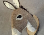 ON SALE needlefelted donkey mount style faux taxidermy  by feltfactory- READY To Ship