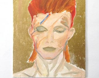 SALE / David Bowie Portrait, Pop Culture Art, Original Acrylic Painting, Gold, Ziggy Stardust, Rock & Roll, 11 x 14, Music Art, Bowie Art