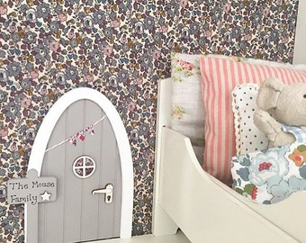 Personalised Mouse Door - Grey & Liberty Print Fabric Mouse House or Fairy Door, Maileg Mouse,