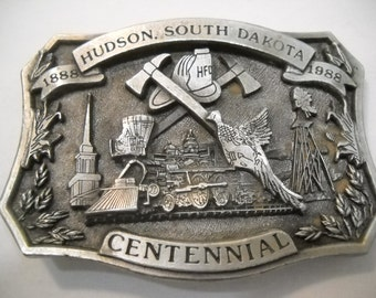 Belt Buckle 1988 Hudson South Dakota Centennial Limited Edition #328 Belt Buckle Free Shipping