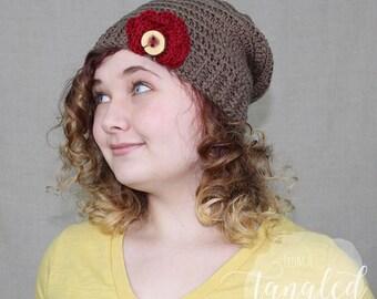 Crochet Slouch Hat / Flower Trim / Wooden Button / THE SCARLETT SLOUCH