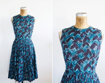 1950s Dress - 50s Dress - Blue Graphic Printed Cotton Dress