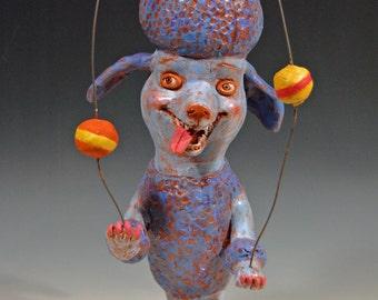 Art humor animals blue dog juggler ceramic sculpture pottery Sammy the Juggling dog