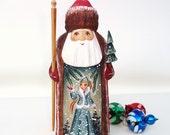 Vintage Russian Santa Figurine Hand Carved Wooden Santa Claus Solid Wood Artist Signed
