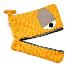 Wavy Whale laptop sleeve, macbook cover, lightly padded, 15 inch, 14 inch, 13 inch, ocher yellow and grey