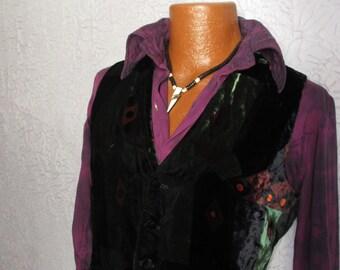 Vintage Men's Art Deco Silk Velvet Vest Waistcoat med.