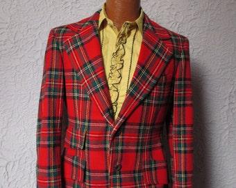 1970s Vintage Men's Red Tartan Plaid Sport-coat Blazer Jacket 40