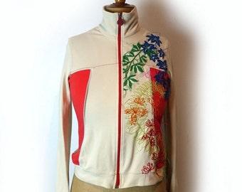 ON SALE Vintage Miss Sixty embroidered bomber jacket, Italian designer bomber jacket, cream and red zip jacket sz S