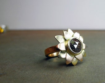 Red rose diamond in red and yellow gold flower ring