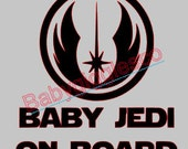 Baby On Board Baby Jedi Star Wars Car Decal Sticker