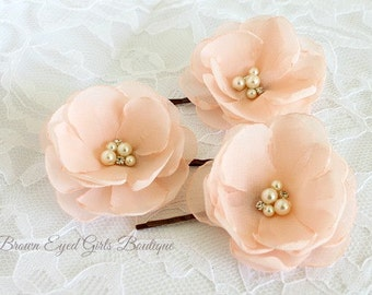Blush Pink Flower Clips, Blush Pink Bridal Flower Hair Clips, Blush Pink Wedding Hair Accessory, Blush Pink Bobby Pins