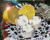 White Sage and Cleansing Lemon  - 9  Soy Wax Tea Candles for Spellcasting, Magick, Meditation and Ritual
