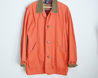 Vintage 90s Burnt Orange J. Crew Barn Jacket Plaid Lined / Mens large