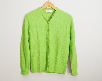 Vintage 60s Bright Lime Green Cardigan Sweater // womens small