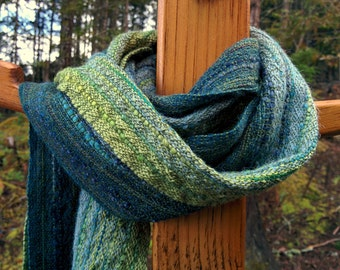 Shades of Blue and Green Handwoven Scarf