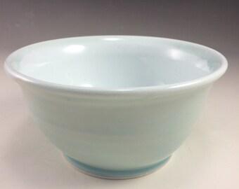 Ice Blue Celadon Wide Wheel Thrown Porcelain Ceramic Bowl